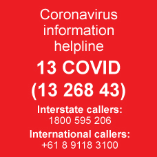 Coronavirus information line number on orange background